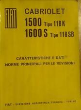 Fiat 1500 1600 S Cabriolet Manuale Officina uso e manutenzione originale