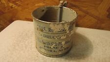 Antique Tin Flour Sifter Ruthorford Aurora, Nebraska