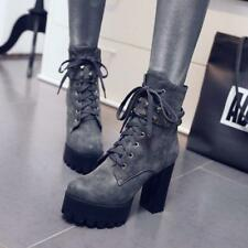 Womens Block High Heel Lace Up Punk Rivets Platform knight Ankle Boots plus size