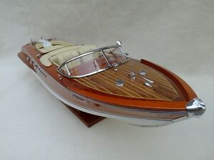 "Riva Aquarama 20"" Cream Wood Model Boat L50 Handmade Italian Speed Boat"