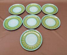 7 pc Lot of Vintage Melmac Dinnerware Mint Green Gold Melamine Greek Key Saucers