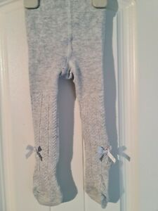 MAMAS AND PAPAS Baby Girls 0-6 Months Grey Tights With Bows (A16)