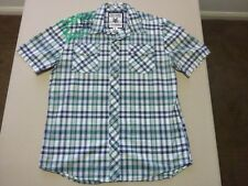 046 MENS NWOT ZOO YORK STONE / NAVY / GREEN CHECK S/S SHIRT LRG $100.
