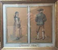 Christian Didrick FORSSEL 1777-1852 (d'a).Costumes d'Herrestad.Gravure réhaussée