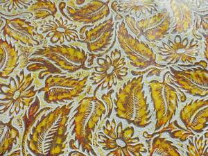 lambskin sheep leather hide skin Multi-Color Embossed Western Floral Pattern