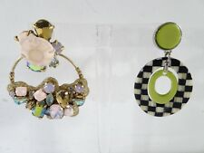 J.Crew Lucite Crystal Machenzie Child Check Oval Earrings Mix Match