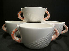 Stafford Sea Fare 4 Cream Soup Bowls Shrimp Tail Handles 1986 Japan Net Design