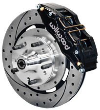 """WILWOOD DISC BRAKE KIT,FRONT,79-86 CHEVY,OLDS,12"""" DRILLED ROTORS,6 PISTON BLACK"""