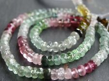 """HAND FACETED AFGHAN TOURMALINE RONDELLES, approx 4mm, 14"""""""