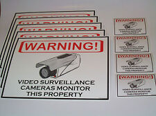 LOT OF 5 SECURITY CAMERA WARNING YARD SIGNS + 4 DECALS