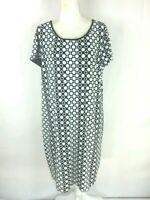 Chico's Women's Dress Size 4 Black White Circle Scoop Neck Short Sleeve