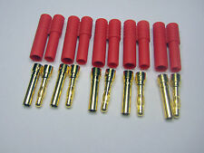 4mm GOLD BULLET RED CONNECTOR PLUG LARGE fits upto 8 AWG x 5 Pieces