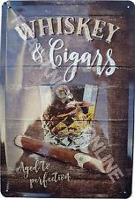 Whiskey & Cigars Bar Pub Cuban Single Malt Scotch Medium 3D Metal Embossed Sign