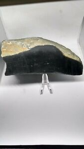 Black Magnetite Nephrite Jade California Rough & 2 Side Cut Cab Trim 8.6 LBs
