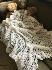 hand crochet christening blanket, white,light weight,soft,keepsake