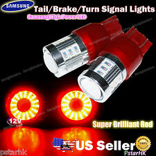 2pcs 7443 7440 Samsung LED Tail Brake Turn Signal Light Projector Lens Red #gm