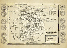 Bedfordshire County Map by Herman Moll 1724 - Reproduction