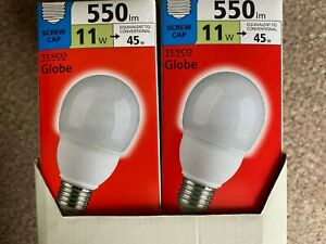 6 X Tesco Screw In Cap 11W Light Bulbs Globe Equivalent 45W 550lm Lasts 10 Years