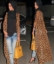 Women Leopard Dress Abaya Muslim Casual Kaftan Jilbab Arab Islamic Maxi Cardigan