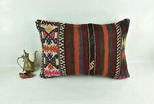 Kilim Pillow Cover 16x24 Traditional Oushak Rug Handmade Lumbar Cushion 3119