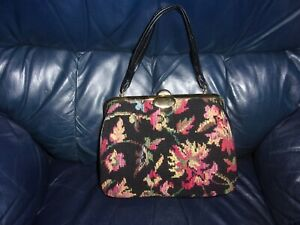 Vintage Purse  Floral Needlepoint Handbag ~Gold Clutch~ Handles