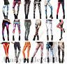 Women's [Ladies] Printed Leggings Stretchy [Galaxy, Halloween, Milk, Black]