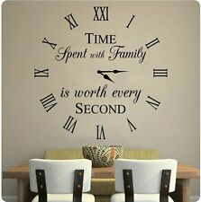 "24"" Time Spent With Family Is Worth Every Second Wall Decal Sticker Home Clock"