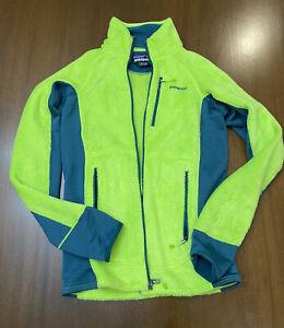 NEW Patagonia Neon Green Teal Full Zip Fuzzy Fleece Unisex Adult Small