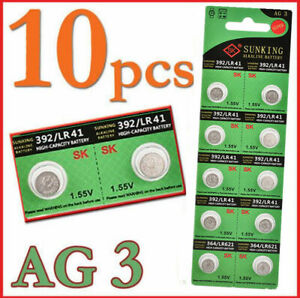 10Pcs Lots  AG3 SG3 LR41 192 1.55V Button Coin Cell Alkaline Battery Batteries