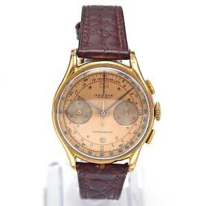 Vintage Orator 18K Yellow Gold 17 Jewels Chronograph Men's Watch 35 mm