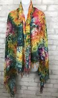 """Tie Dye Rainbow With Sun Print Scarf Wrap with Fringe Oversize Shawl 62x48"""""""