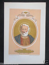 1879 SAN FELICE I FELIX I ANTICA STAMPA CROMOLITOGRAFIA PAPA PAPI POPE D246 m
