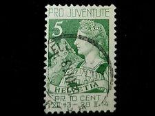 First Switzerland Semi-Postal stamp B1, 1913! F/VF Helvetia and Matterhorn Used