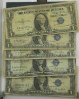 $1 SILVER CERTIFICATE VERY CIRCULATED SOME CONDITION ISSUES 5 NOTES PER LOT