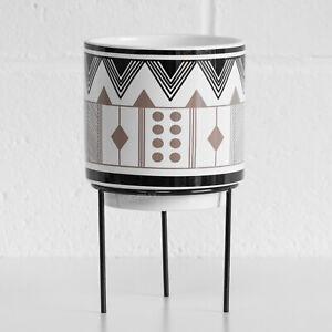 Small Aztec 23cm Indoor Plant Pot Stand Ceramic 12.5cm Pot Cover Holder Planter