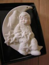 DEPT 56 SNOWBABIES ROCK-A-BYE BABY MOON & STARS ANGEL BISQUE CHRISTMAS ORNAMENT