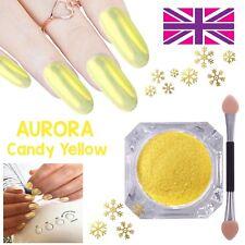 AURORA CANDY YELLOW Chrome Unicorn Nail Powder PASTEL AB MIRROR Effect RAINBOW