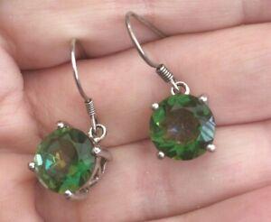 Silver Green Mystic Topaz Earrings