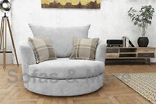 Big Corner Sofa Suite Verona Fabric 3 2 Seater Armchair- Light Grey Cuddle/swivel Chair