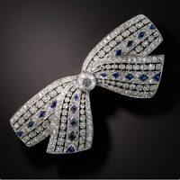 Art Deco Old European 2.70ct Shiny CZ & Sapphire Bow Brooch 925 Sterling Silver