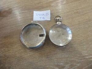 ANTIQUE SILVER FUSEE VERGE  POCKET WATCH CASES INNER/ OUTER FOR A PAIR CASE