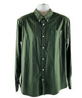 Eddie Bauer Wrinkle Resistant Relaxed Fit Dress Shirt Mens XL Green Checkered