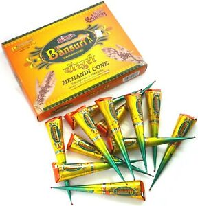 Bansuri Natural Henna Mehandi Cones for Face Freckles and Body Art 6 Pcs.
