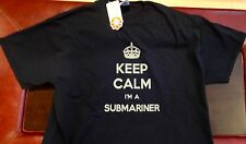 "US Navy Submarine Dolphin Black Cotton ""Keep Calm I'M a Submariner"" T-Shirt 2XL"