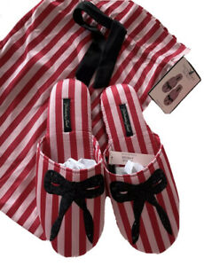Victoria Secret's Signature Stripe Satin Slippers Large L 9-10 Sequin Bow NEW