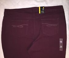 STYLE & Co Women's Burgundy Denim Curvy Slim Leg Jeans True Fit Size 24 NWT