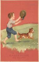 EasterTide Easter Greetings c1915 Embossed Postcard Boy with Hat Chases Dog