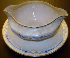 Porcelain Gravy Boat Attached Saucer Vintage Edwin M.Knowles China Co Circa 1925