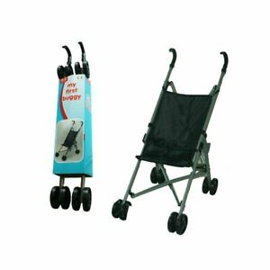 Have Duty Baby Doll Foldable Black Stroller Buggy Jogger Dolls Pram Toy