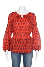 TORY BURCH Blouse Size 6 Orange Red Sheer Peplum Tunic Top  Floral Print